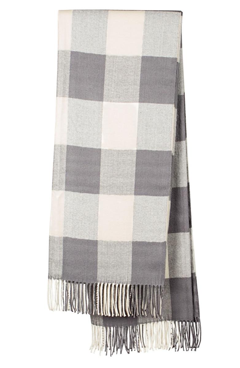 gray and white buffalo check blanket, fall home decor