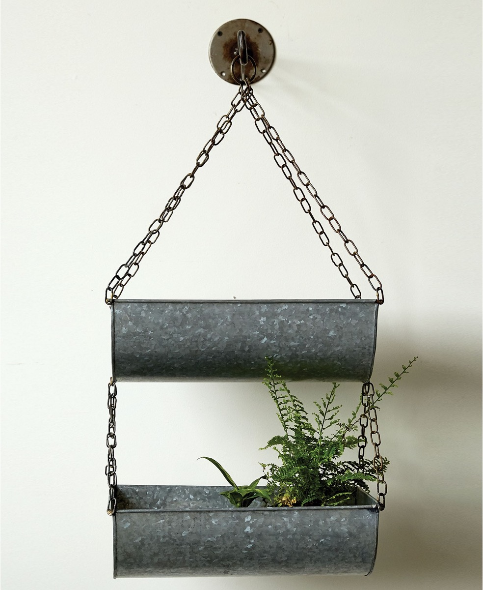 metal hanging shelf with a plant in it, rustic farmhouse decor