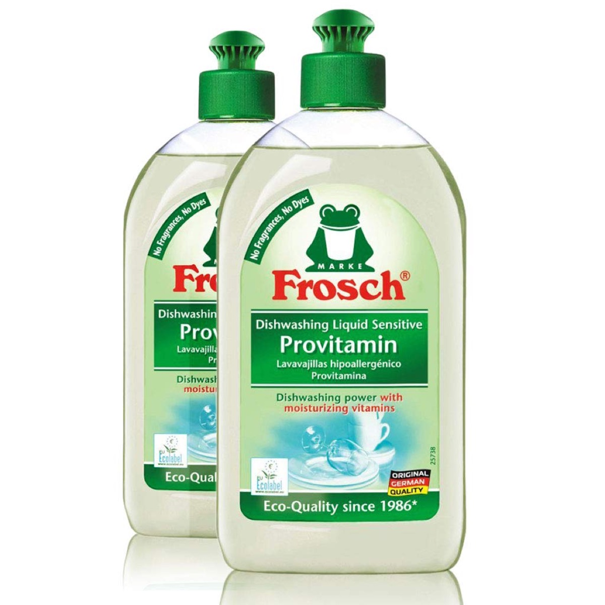 two bottles of dish soap with green tops, earth friendly cleaning products