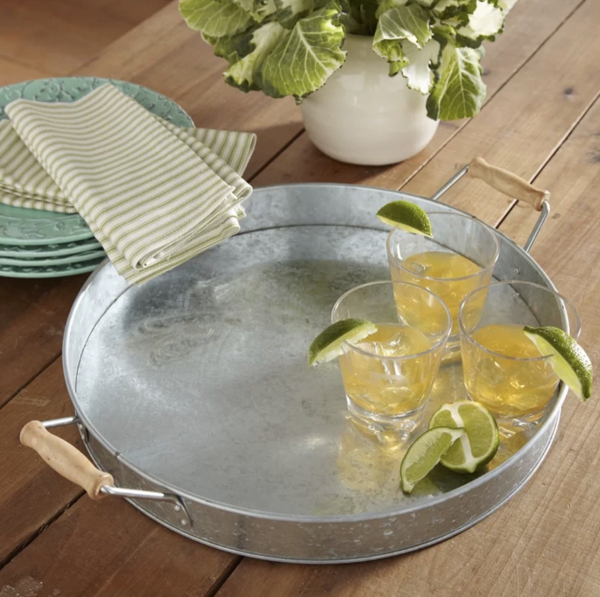 metal tray with wooden handles and cocktails on it, rustic farmhouse decor