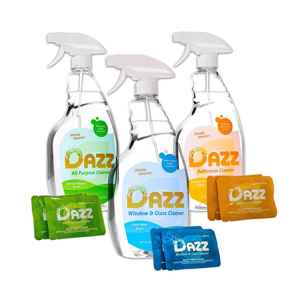 three clear bottles of cleaning products, earth friendly cleaning products