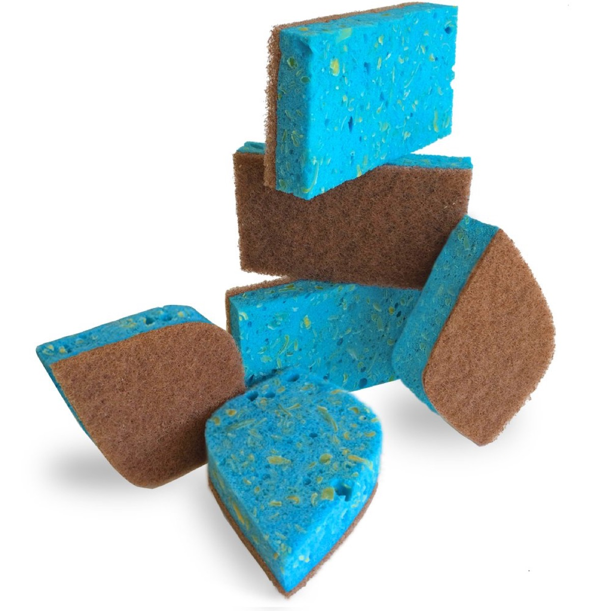 blue and brown sponges, earth friendly cleaning products
