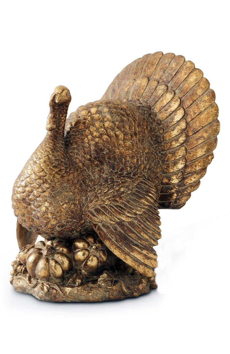 gold turkey statue, fall home decor