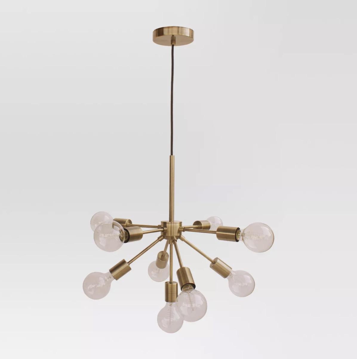 multi-armed brass chandelier, target home decor items