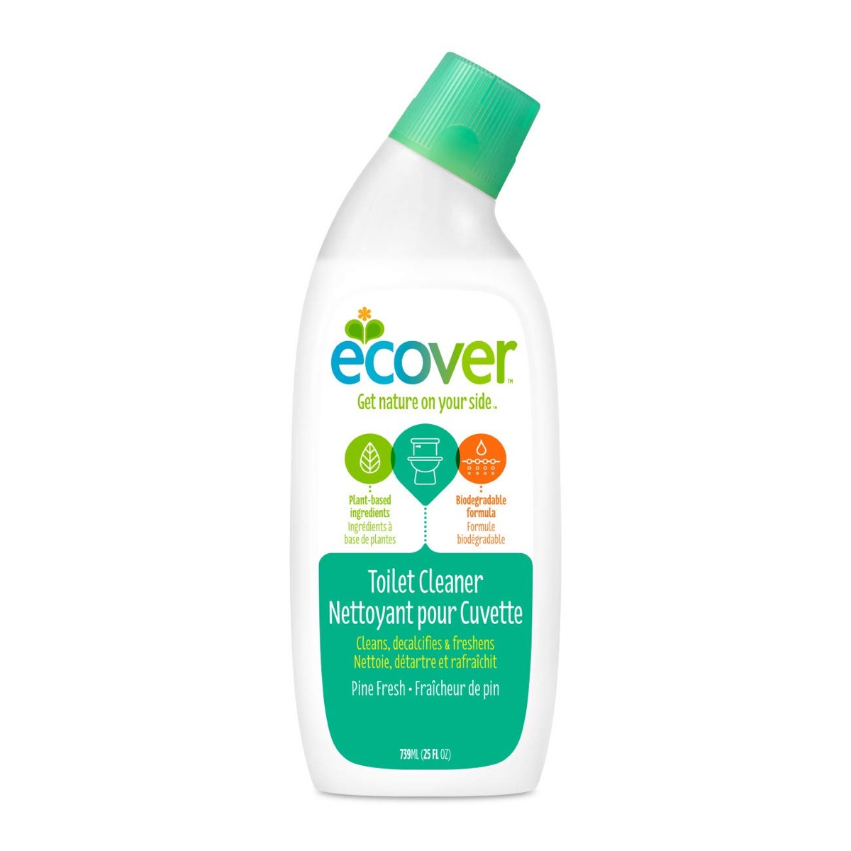 white and green bottle of ecover toilet cleaner, earth friendly cleaning products