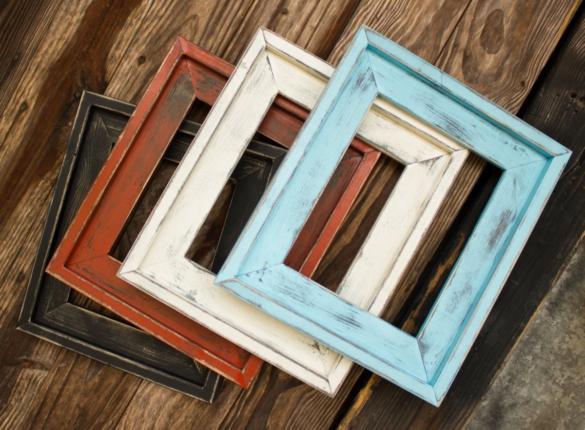 set of three picture frames on a wooden background, rustic farmhouse decor