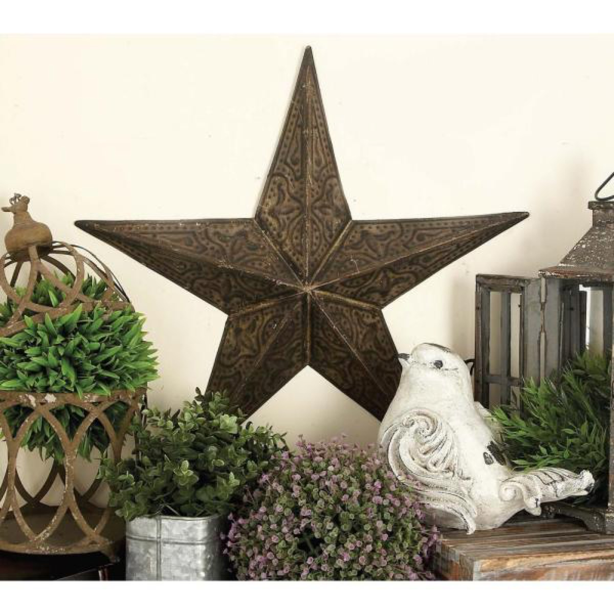 metal barn star surrounded by plants, rustic farmhouse decor