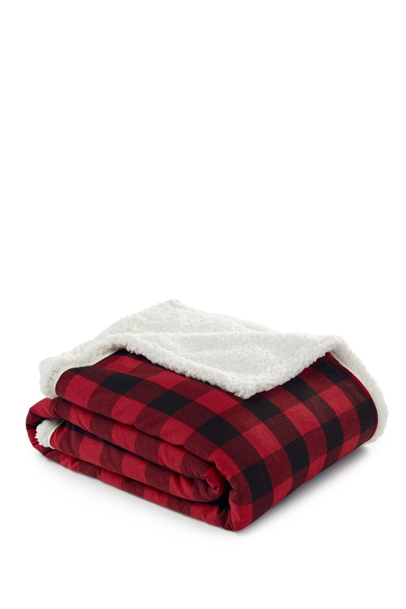 folded red and black buffalo check blanket, fall home decor