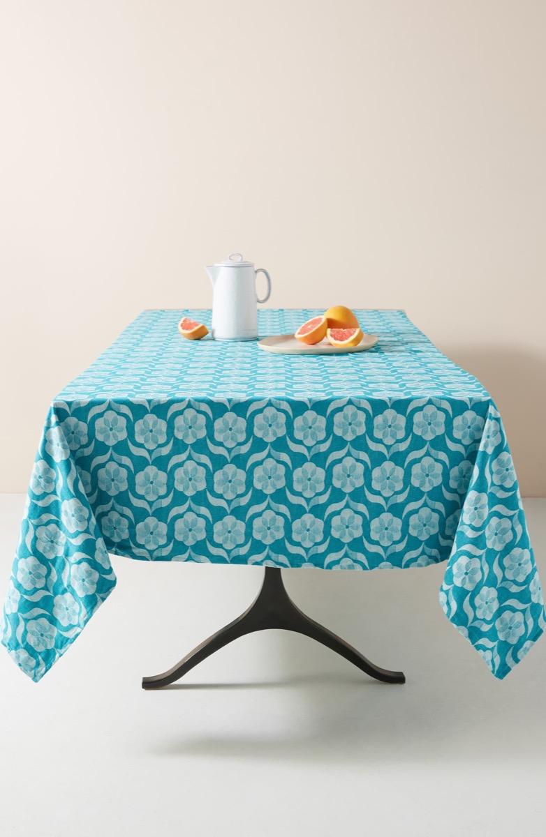 blue floral tablecloth, Kitchen Decorations
