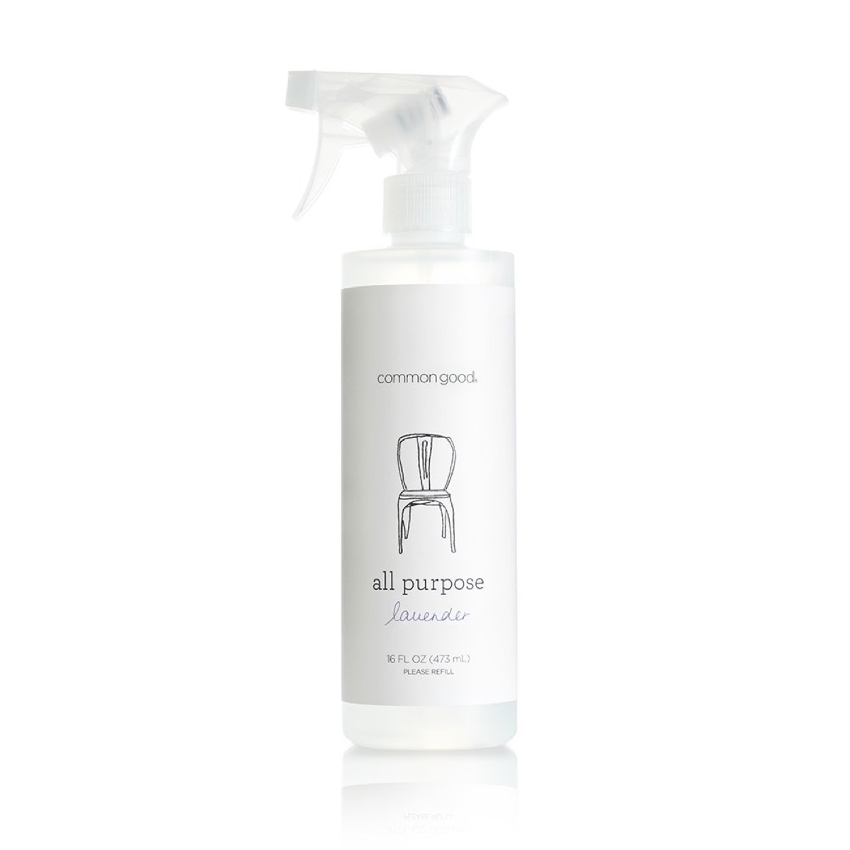 clear bottle of spray against white background, earth friendly cleaning products