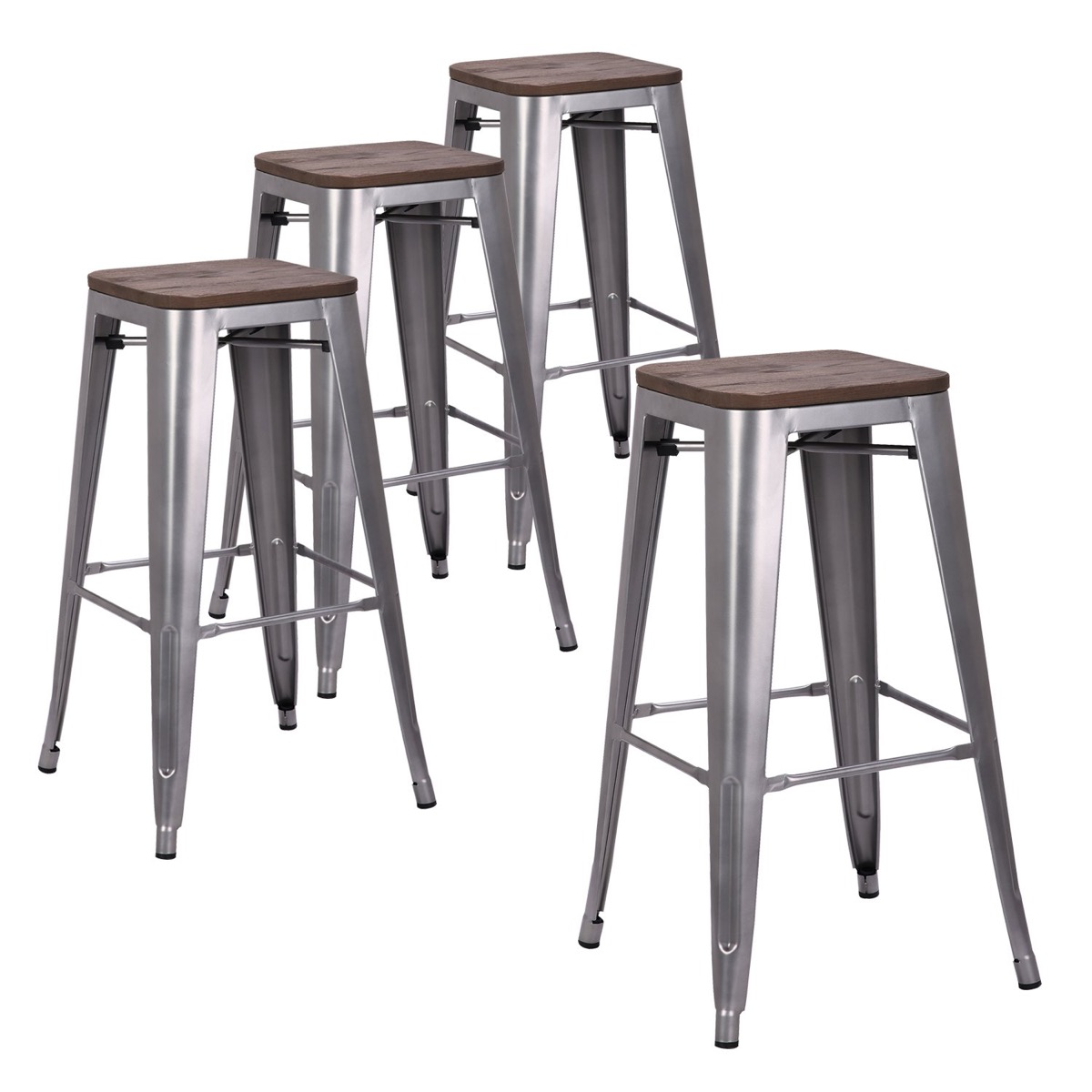 four metal bar stools, rustic farmhouse decor