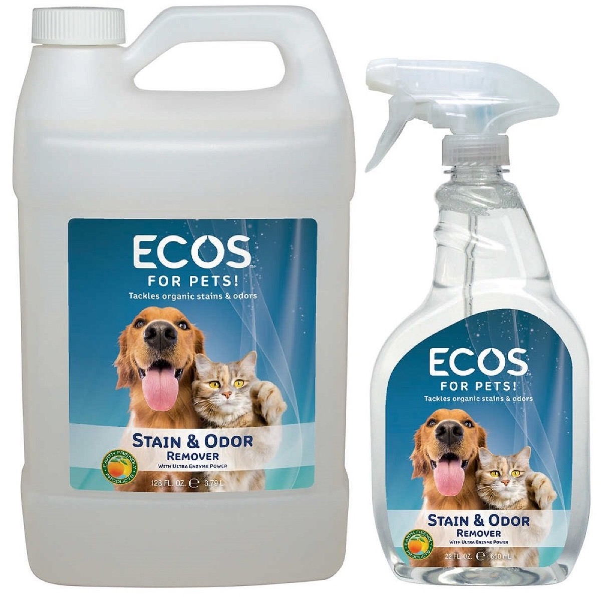 two bottles of pet cleaner, earth friendly cleaning products