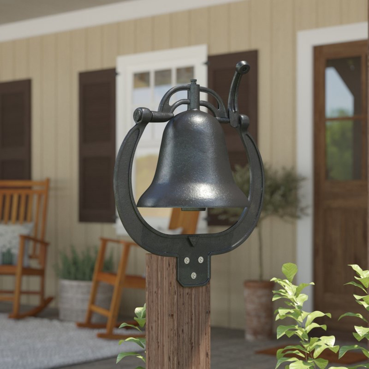 bell hung on the outside of home, rustic farmhouse decor
