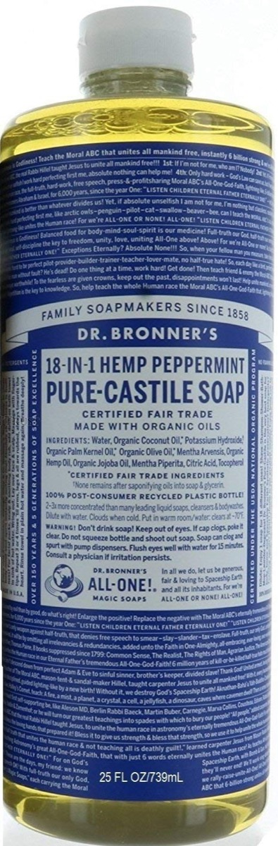 dr bronner's soap with blue label, earth friendly cleaning products