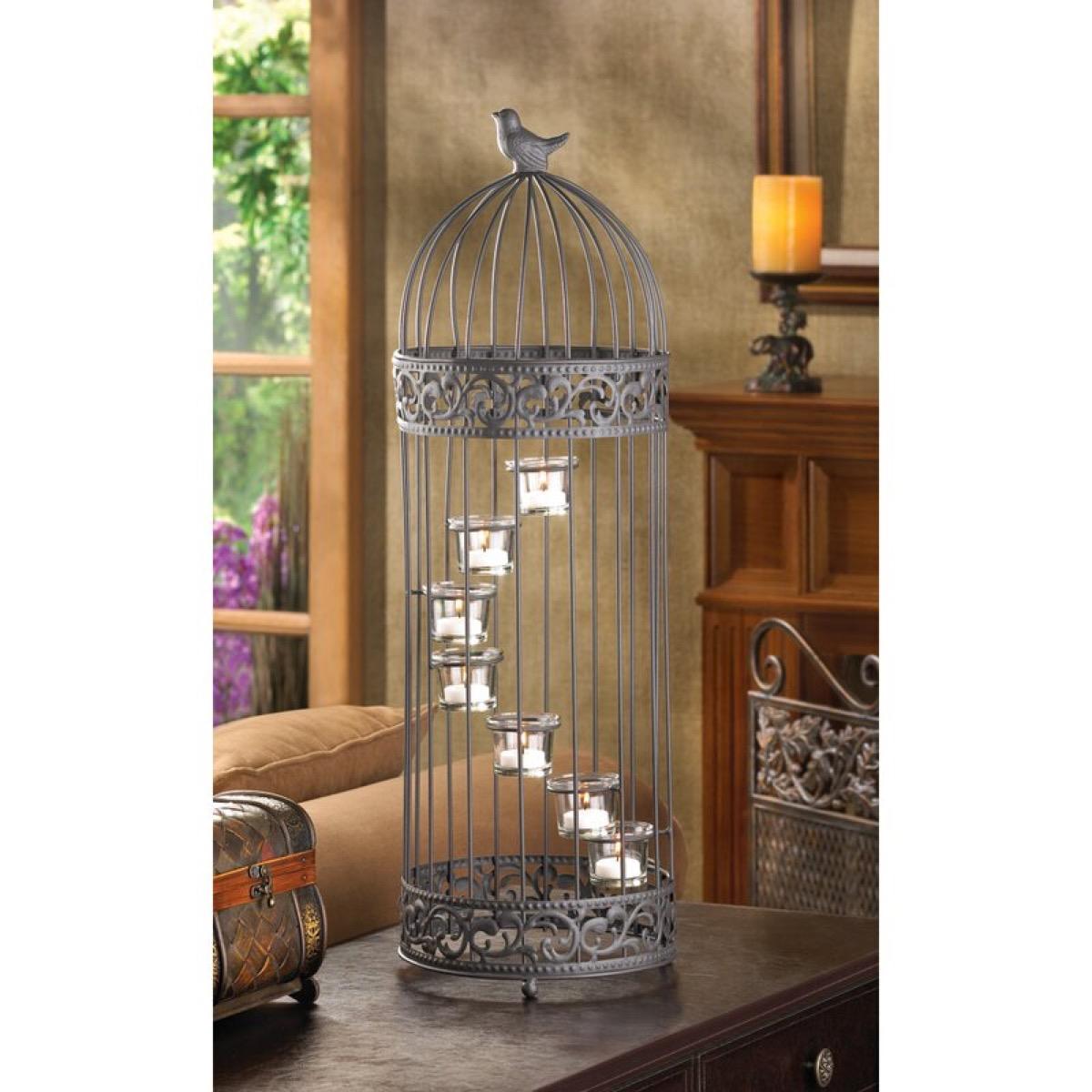 metal birdcage with fairy lights, rustic farmhouse decor