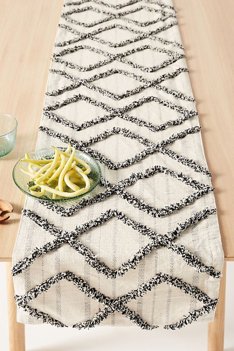black and white runner on table, kitchen decorations