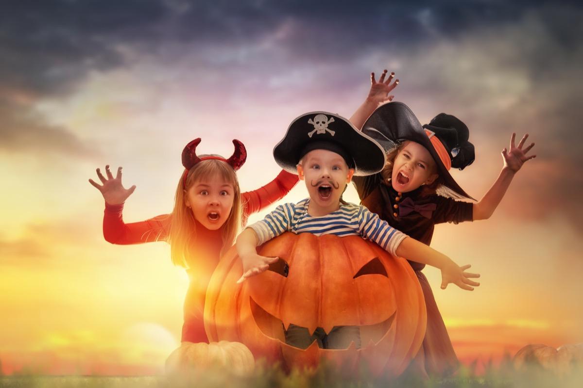 kids dressed for halloween
