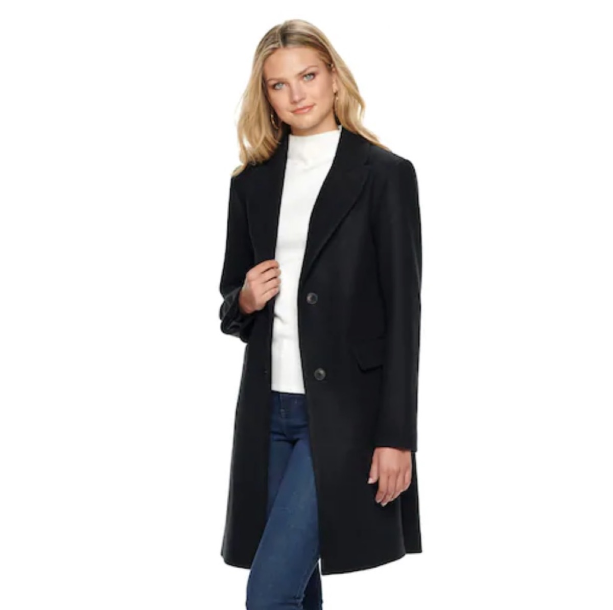 woman in white turtleneck and jeans and a black coat, women's coats for winter