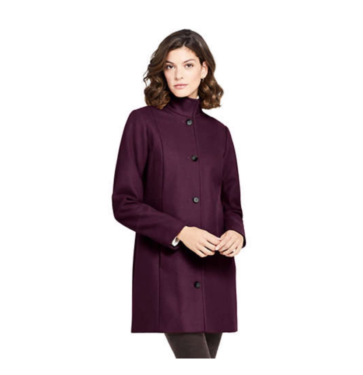 woman with brown hair in purple coat, women's coats for winter
