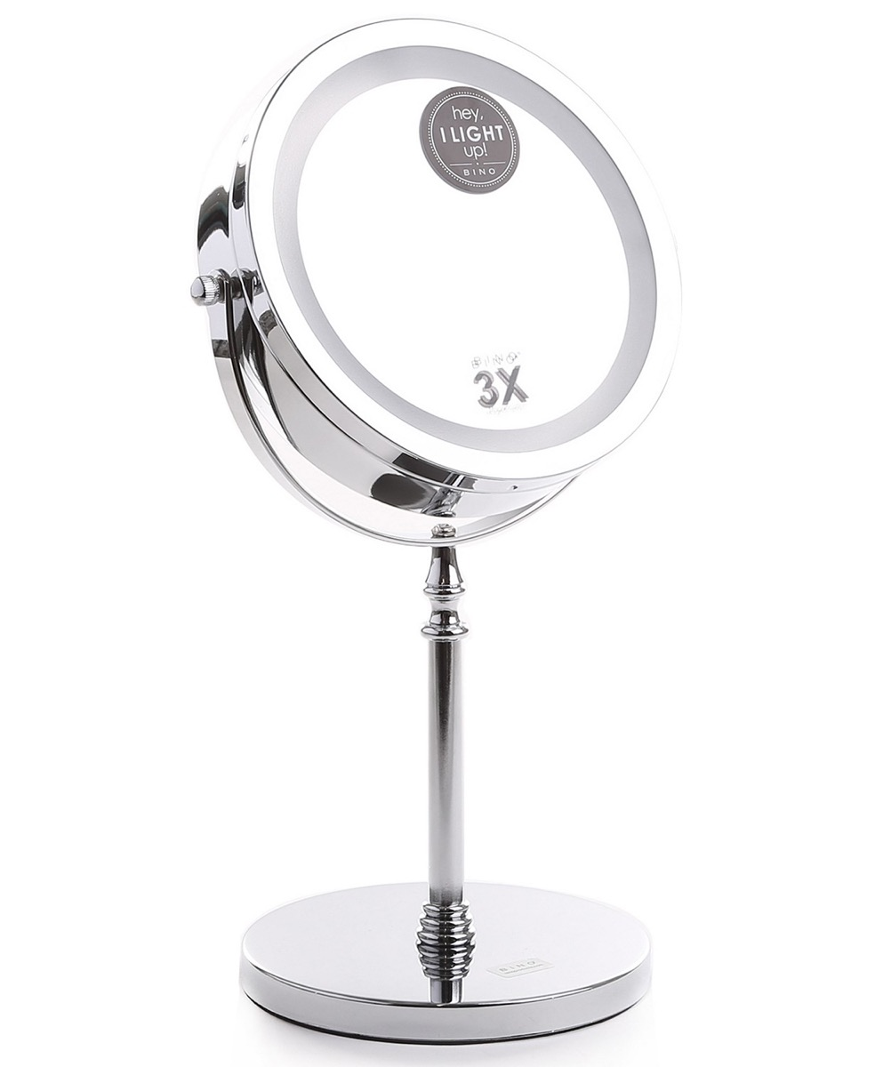 round silver mirror with led lighted rim, bathroom accessories
