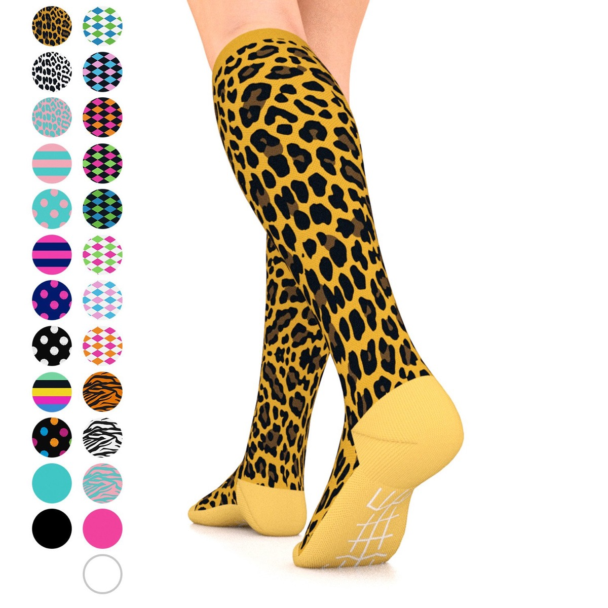 leopard compression socks, gifts for pregnant people