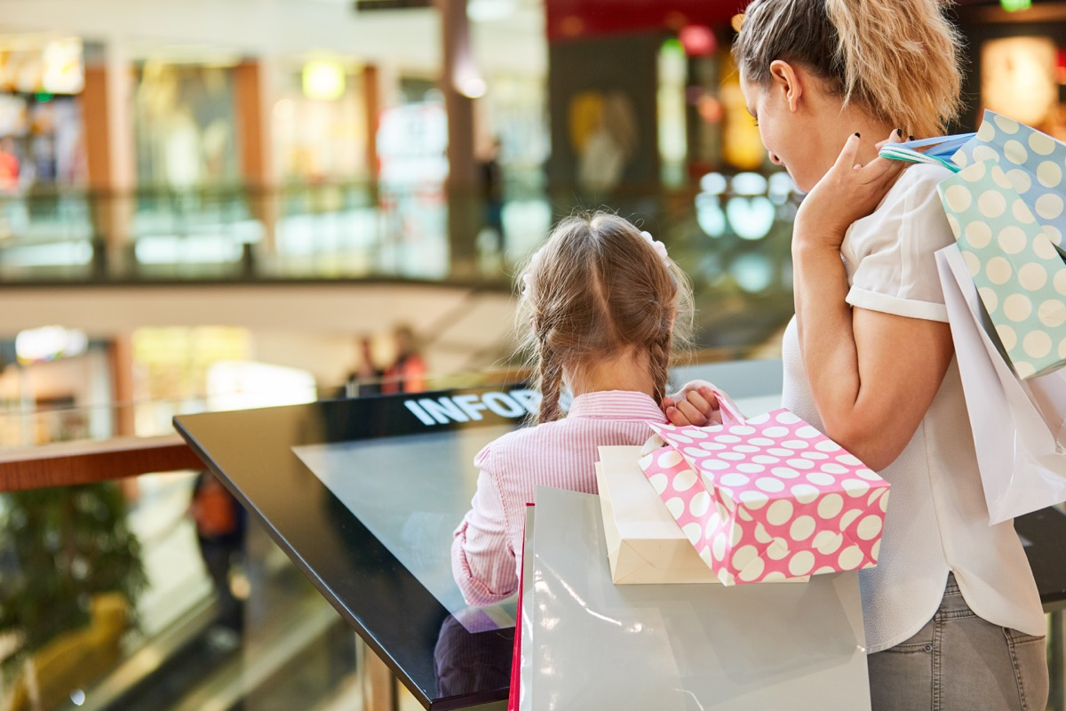 little girl looking at a mall directory with her mother
