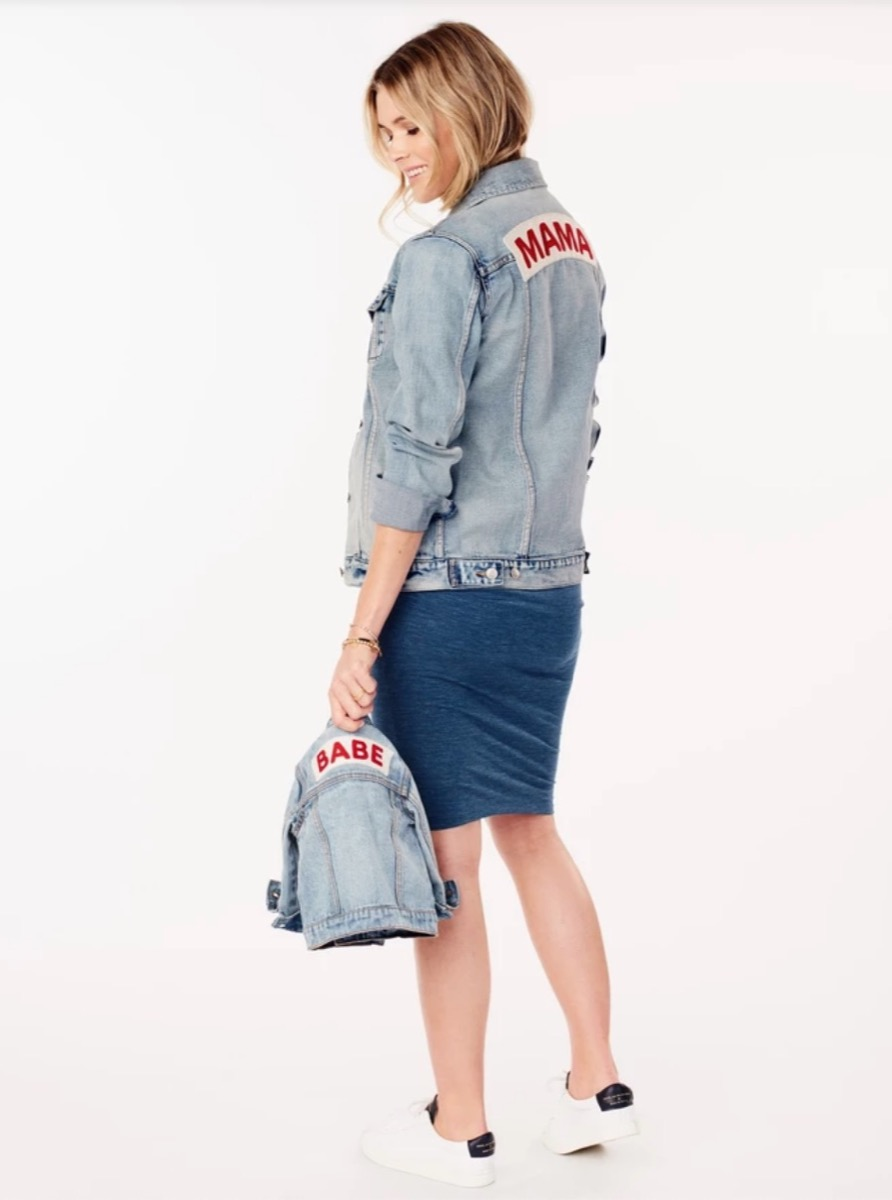 denim jacket with mama on the back, gifts for pregnant people