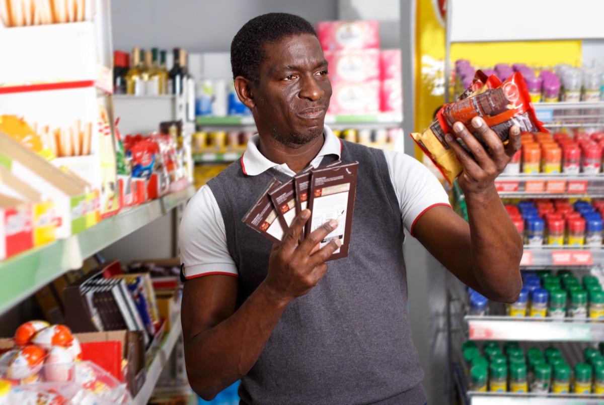 man buying candy