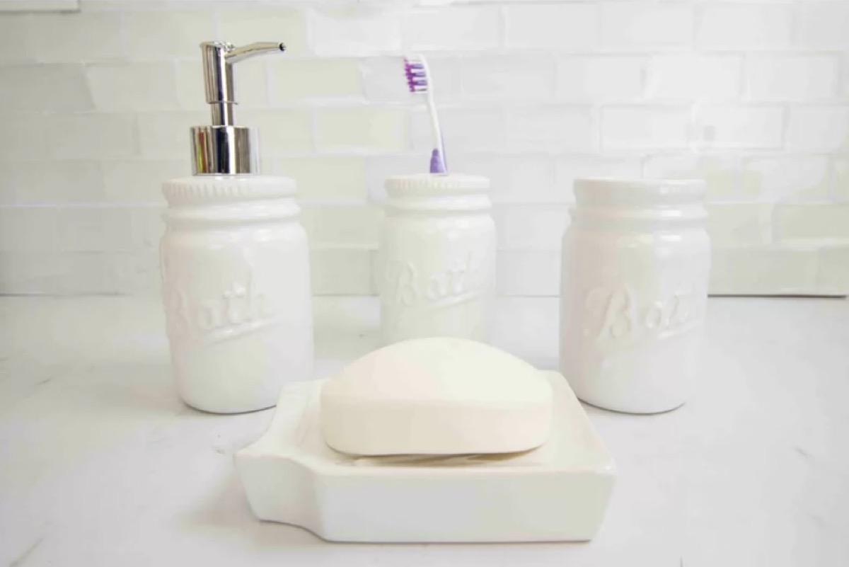 mason jar bathroom set, bathroom accessories