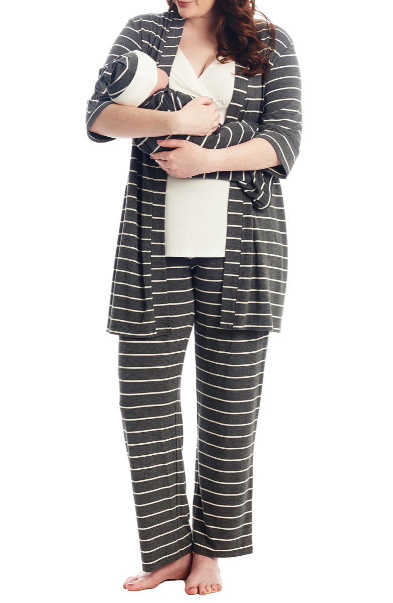 woman in black and white pajamas holding baby, gifts for pregnant people