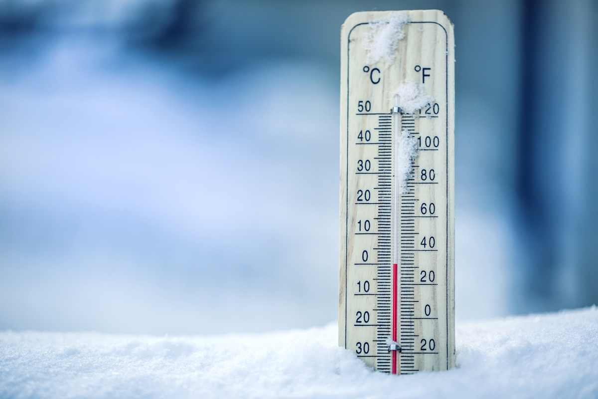 Mercury thermometer in snow