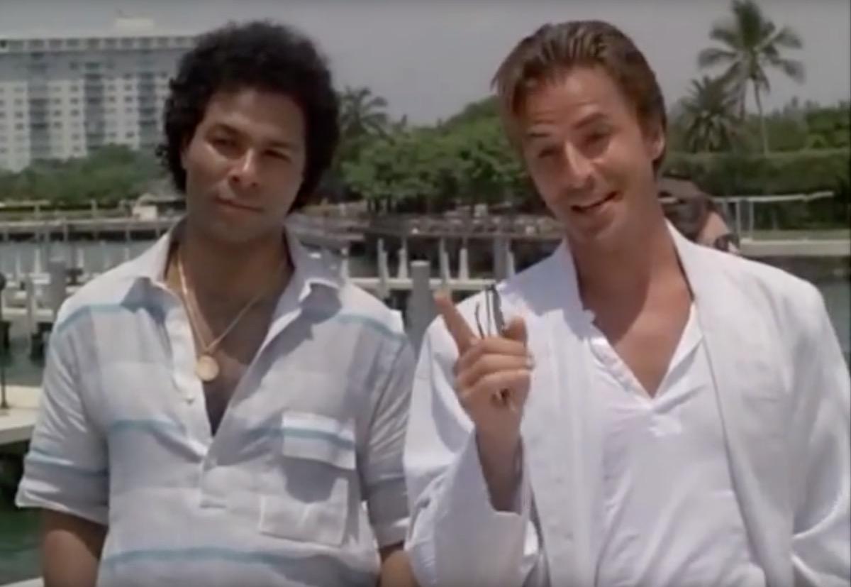 screenshot of don johnson and philip michael thomas from miami vice