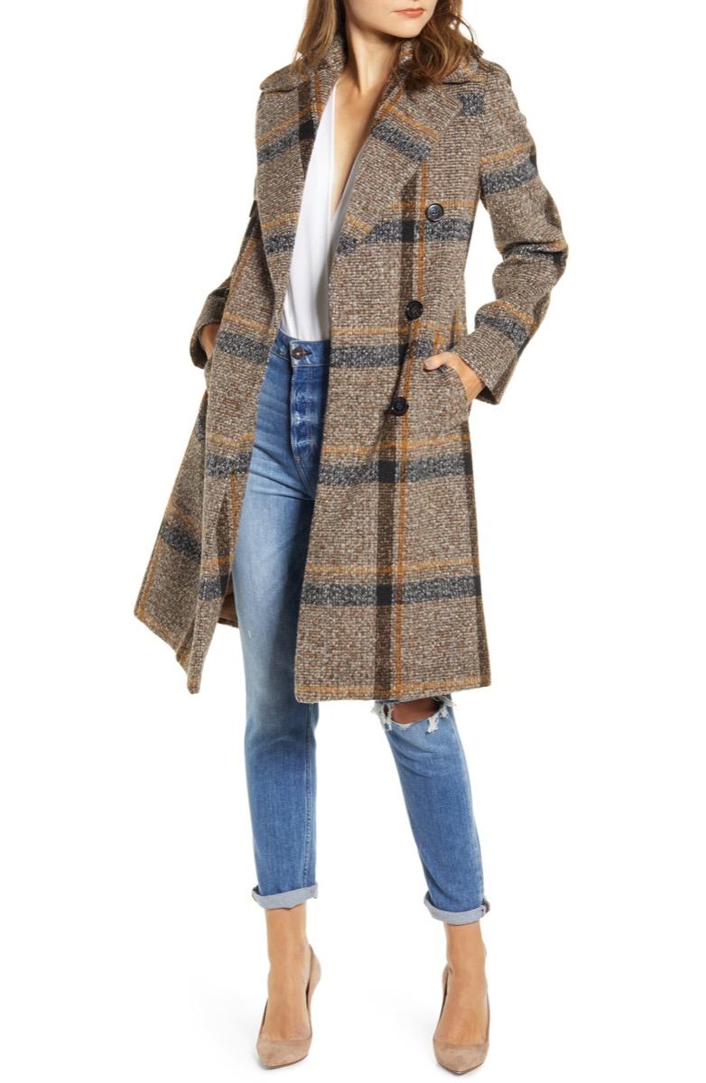 woman in brown plaid coat, women's coats for winter