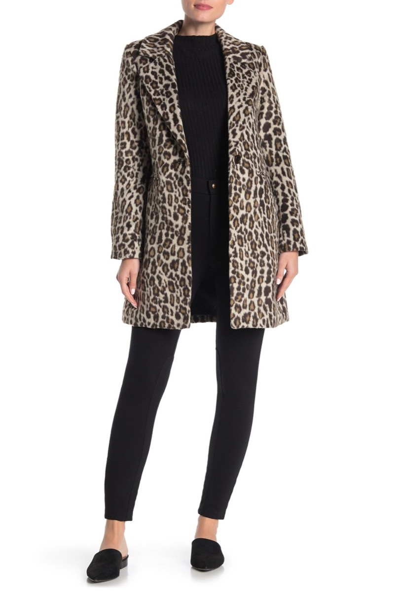 woman in black shirt and pants and leopard coat, women's coats for winter