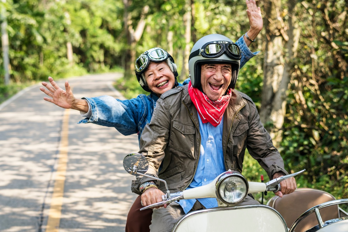old people riding a motorcycle, worry less