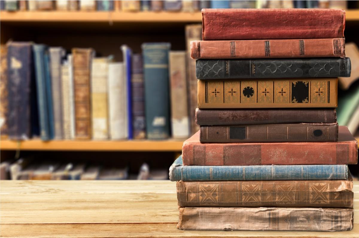 stack of damaged books