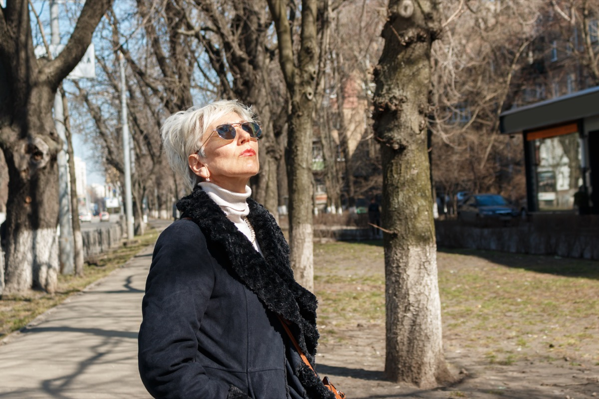 Older Woman Wearing Sunglasses Outside Prevent Health Issues Aging