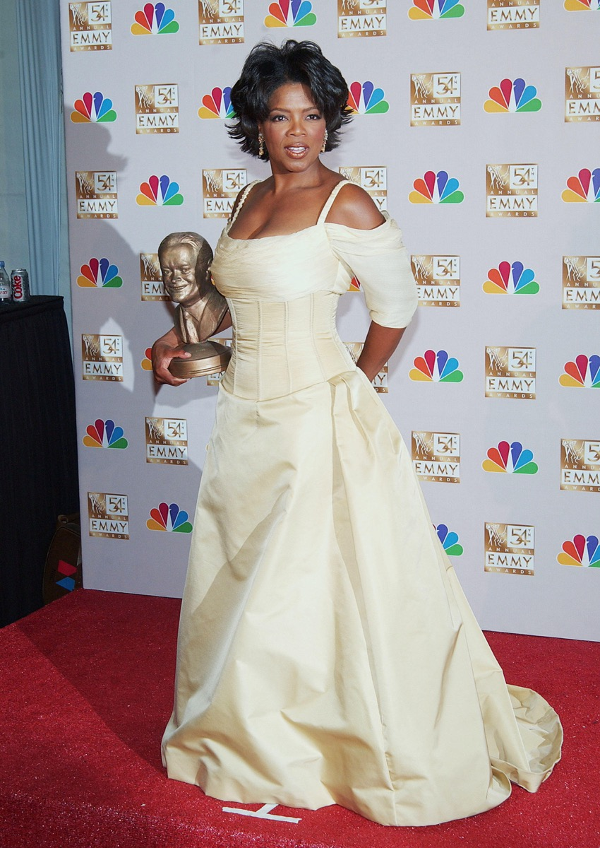 Oprah Winfrey at the Emmy awards in 2002 Iconic Emmys Looks