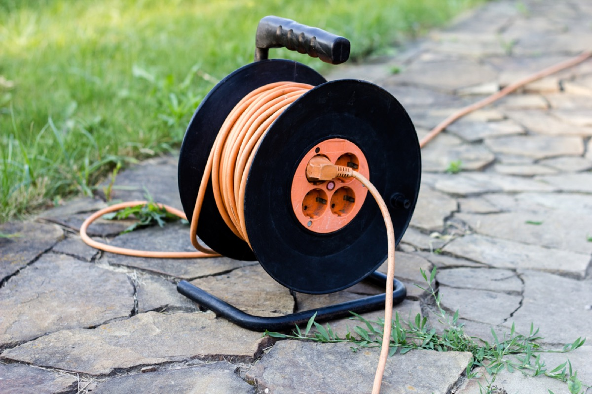 outdoor extension cord on spool, property damage