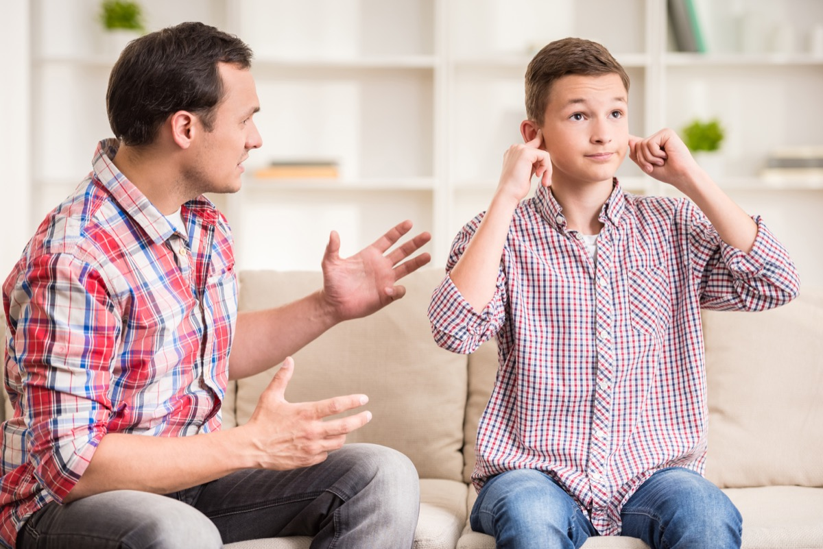 Son ignoring father when he tries to scold him being a step-parent