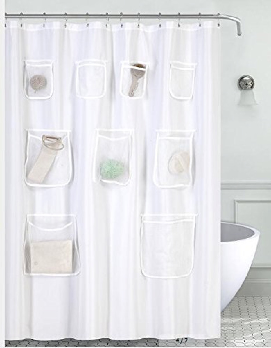 white shower curtain with pockets, bathroom accessories
