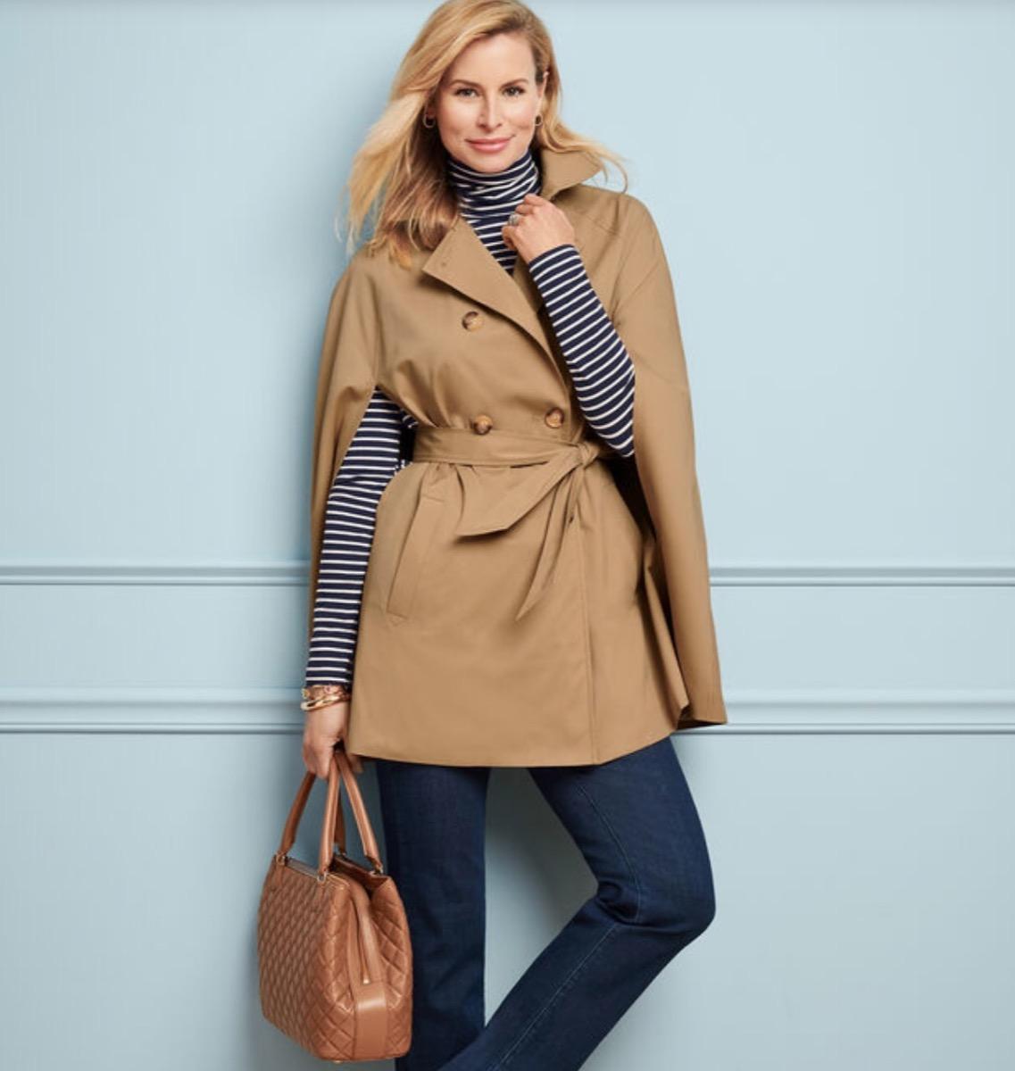 woman in tan cape coat, women's coats for winter