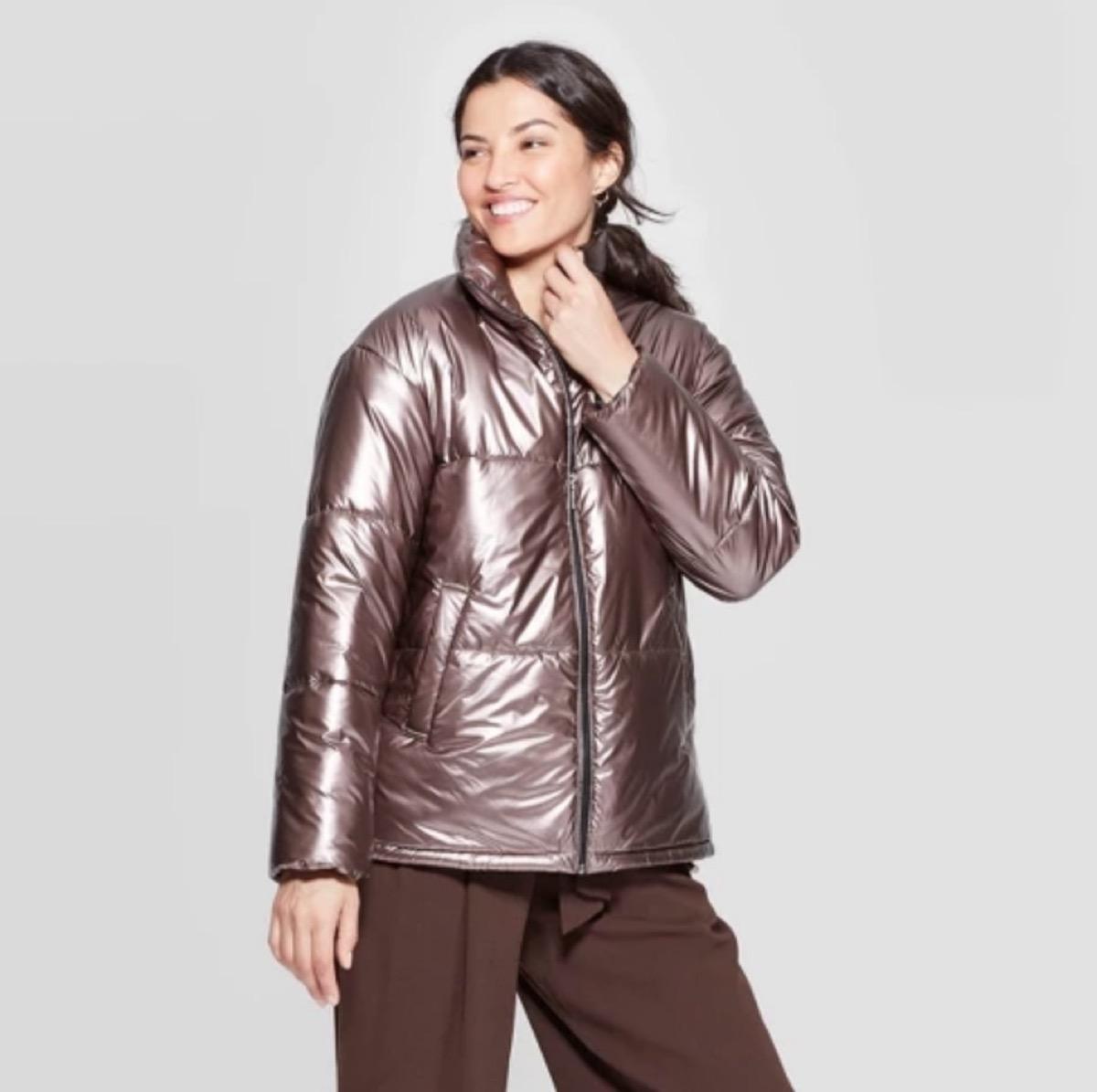 woman in metallic puffer coat, women's coats for winter