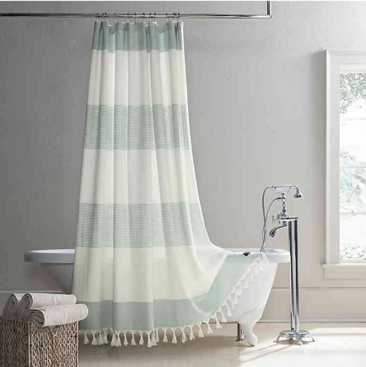 green and white striped shower curtain, bathroom accessories