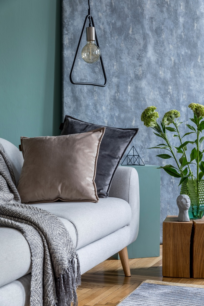Velvet pillows on a blue/grey couch Vintage Home Trends