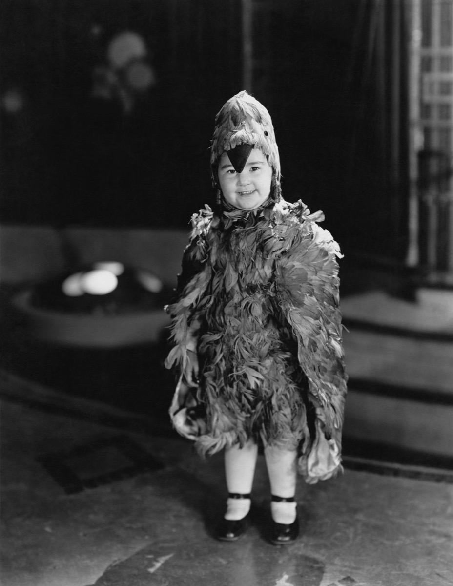 vintage photo of kid in halloween costume