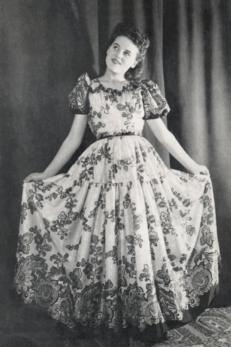woman wearing a lampshade dress in the late 1940s