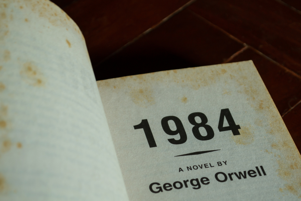 """1984 book interior reads """"A novel by George Orwell"""""""