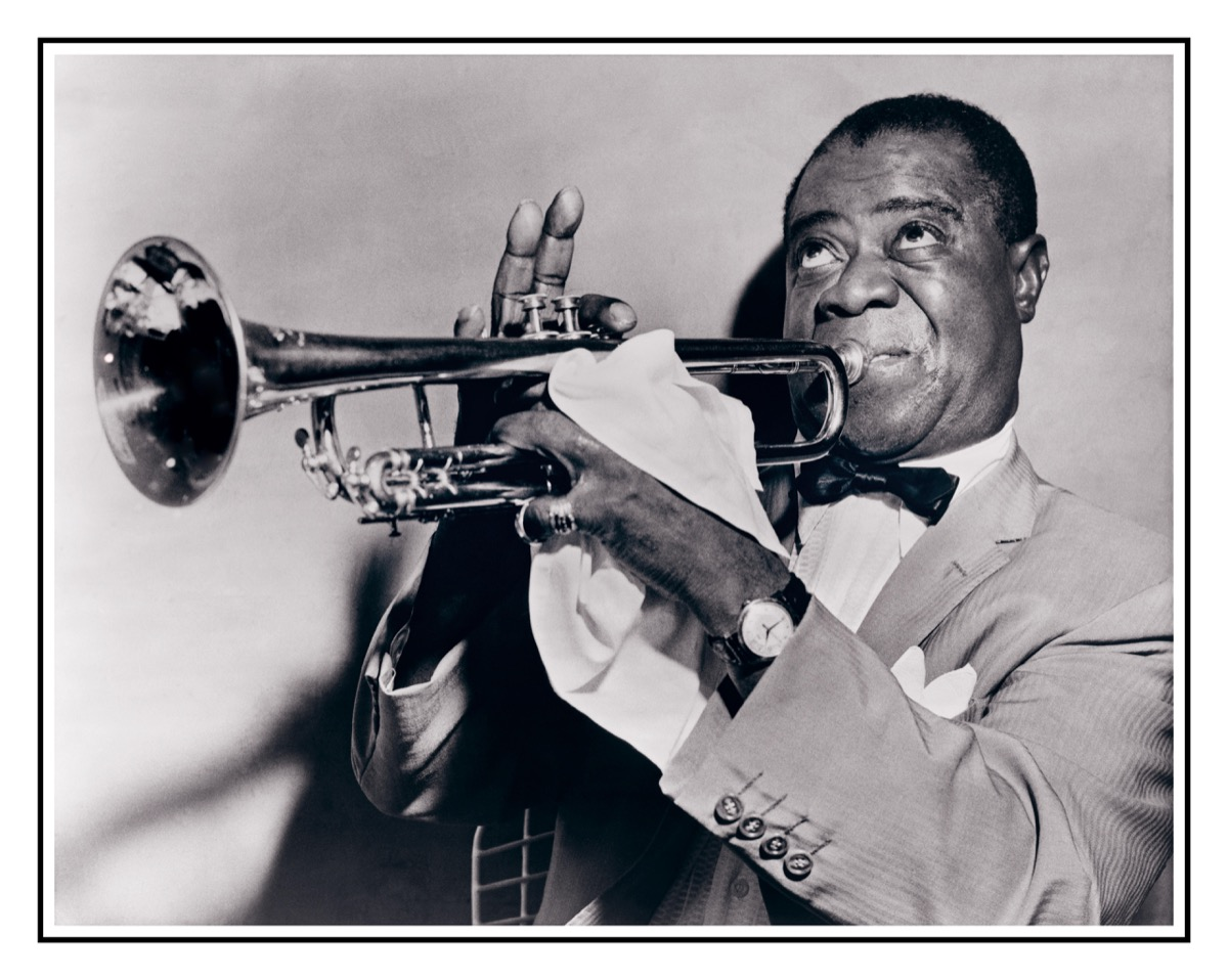 Louis Armstrong plays trumpet in 1950s