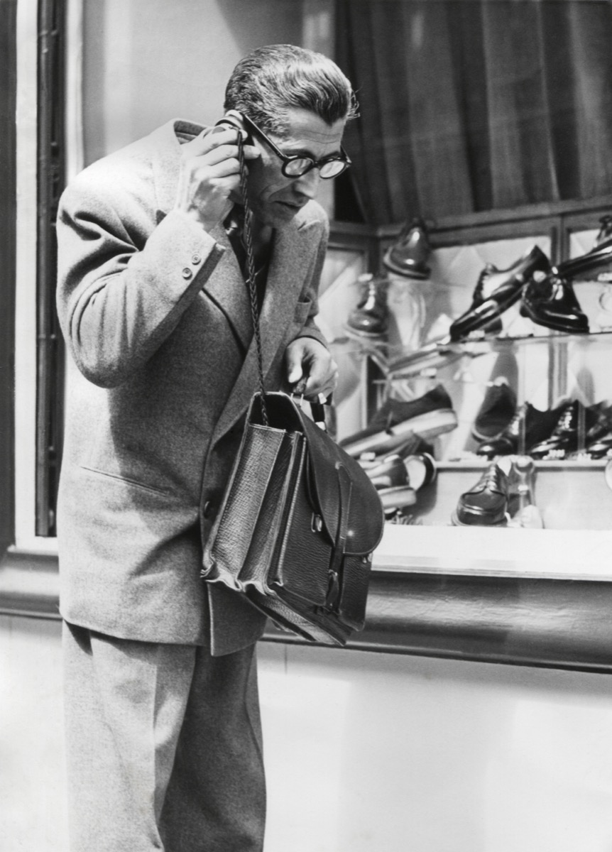 The 'Telephonogramme' in use of the streets of Paris, May 10, 1950. This was an early wireless mobile telephone that could fit into a briefcase